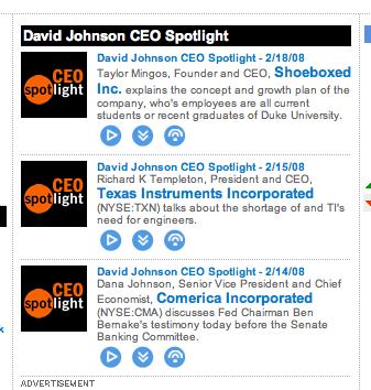 CEO Spotlight Screenshot 2/18/08