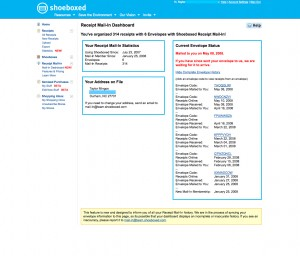 Track your Mailed Receipts on Shoeboxed