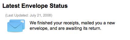 Receipt Mail-In Envelope Status