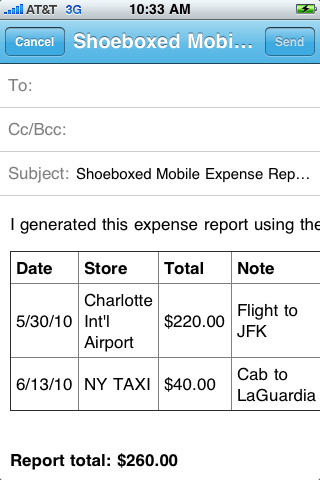 Shoeboxed iPhone App for Receipts