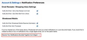 Mobile notifcation email bundle setting