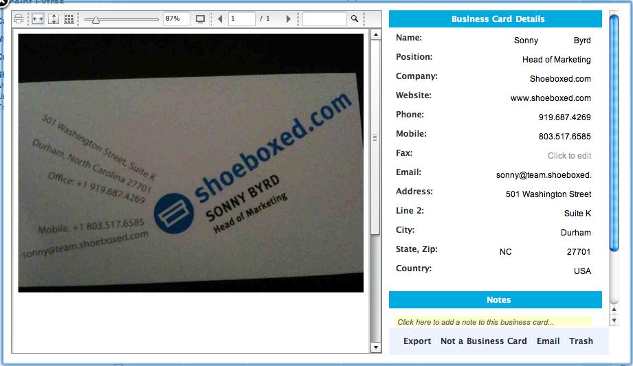 Business Card viewer
