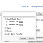 Filter by Credit Card in Shoeboxed