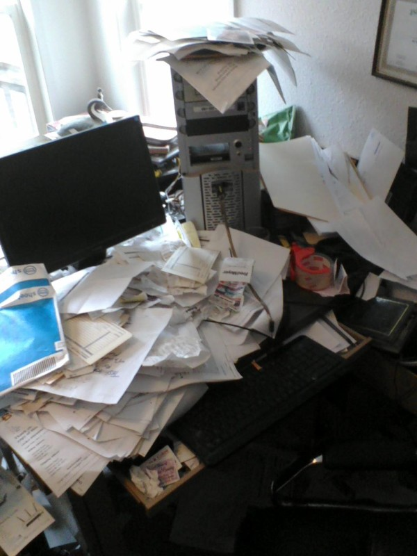 Shoeboxed Messy Desk