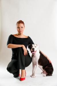 Lynn Platow with Her Trusty Pit Bull Herodotus