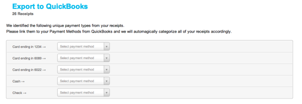 Send Credit Card Charges from Shoeboxed to QuickBooks