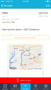 Use Shoeboxed to track receipts on-the-go as you travel on business trips, like Uber ride receipts
