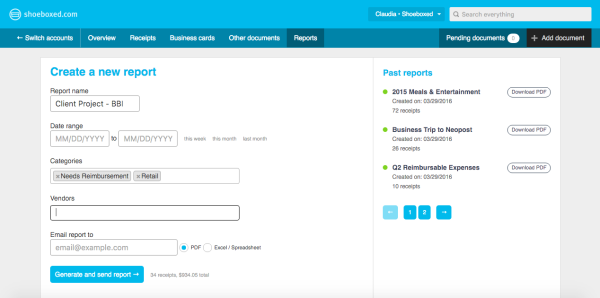 build custom expense summaries with shoeboxed reports the